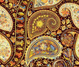 Ornate seamless paisley pattern vectors 01