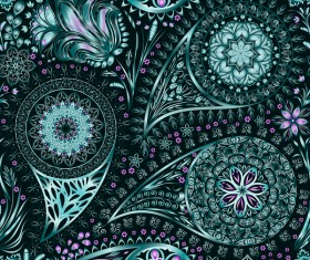 Ornate seamless paisley pattern vectors 04