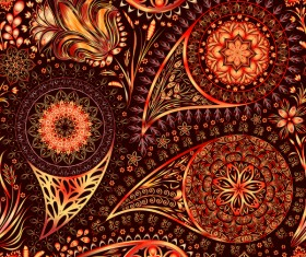 Ornate seamless paisley pattern vectors 05