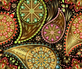 Ornate seamless paisley pattern vectors 09