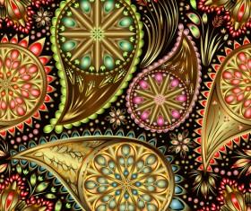 Ornate seamless paisley pattern vectors 09