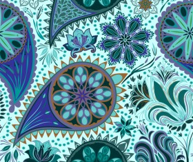 Ornate seamless paisley pattern vectors 12