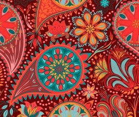 Ornate seamless paisley pattern vectors 13