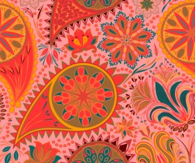 Ornate seamless paisley pattern vectors 14