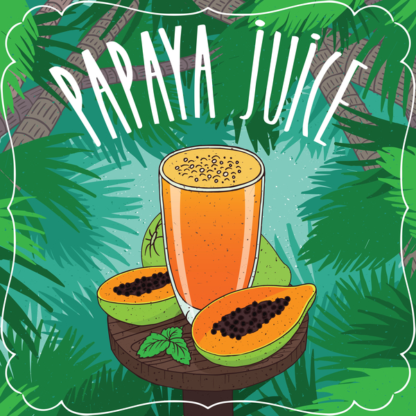 Papaya juice in glass with ripe fruits poster vector