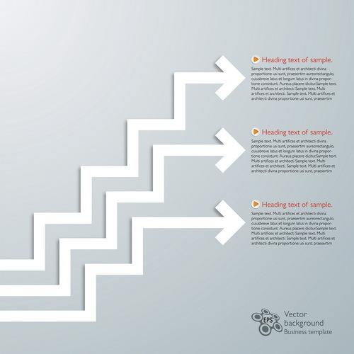 Paper arrow infographic vector 01