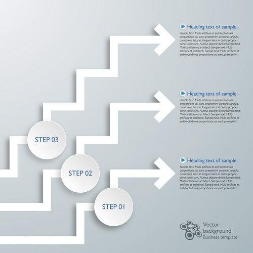Paper arrow infographic vector 02