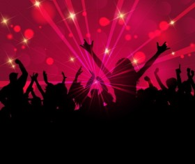 Party silhouette with colored background vector
