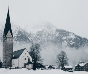 Peaceful town in misty season Stock Photo