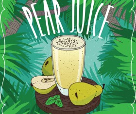 Pear juice poster vector material