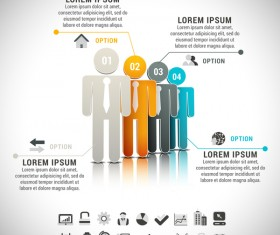 People colored business infographic vector