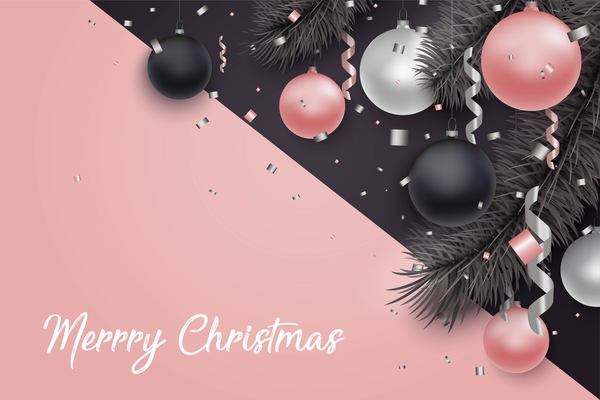 Pink with black christmas background with baubles vector