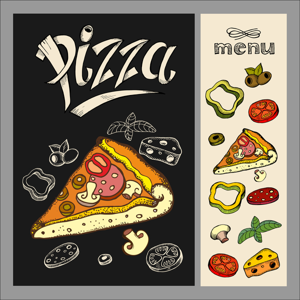 Pizza restaurant menu hand drawn vector