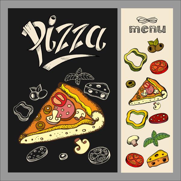 Pizza restaurant menu hand drawn vector