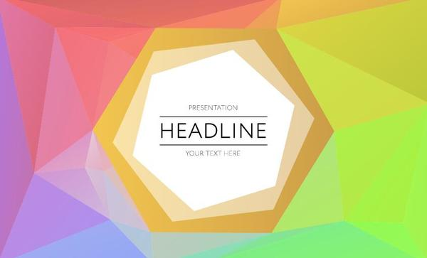 Polygonal colored cover template vector 12
