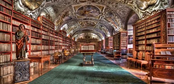 Prague Library Stock Photo
