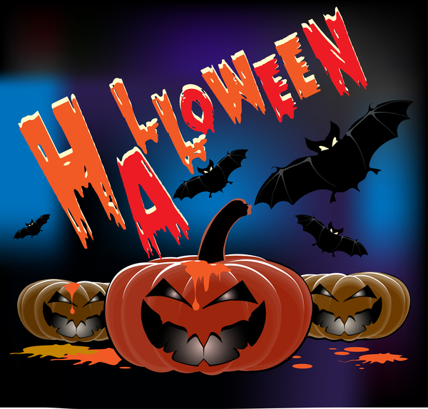 Pumpkin head with halloween background vector