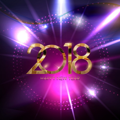 Purple background with 2018 new year vector