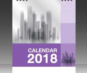 Purple vertical desk calendar 2018 cover template vector