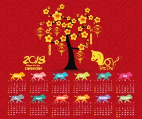 Red 2018 calendar chinese styles vector