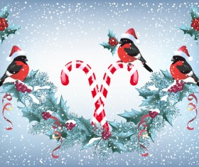 Red hat bird with christmas backgorund vector 01
