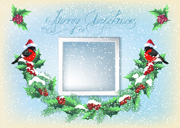 Red hat bird with christmas backgorund vector 02