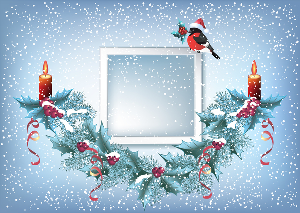 Red hat bird with christmas backgorund vector 03
