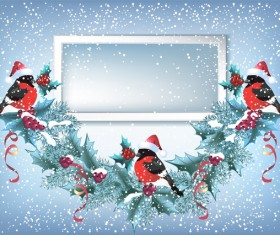 Red hat bird with christmas backgorund vector 04