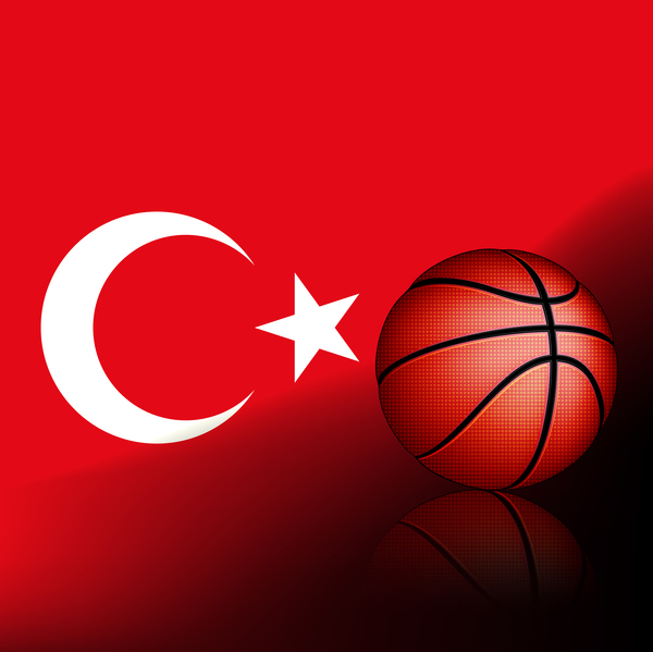 Red turkish basketball background vector 01