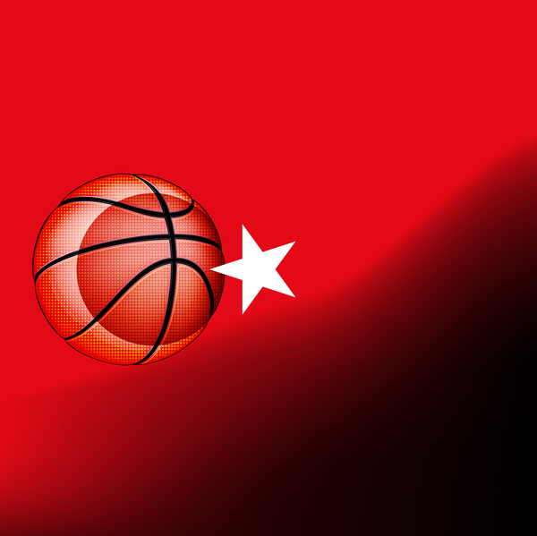 Red turkish basketball background vector 02