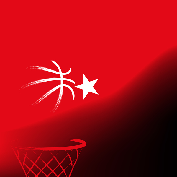 Red turkish basketball background vector 03