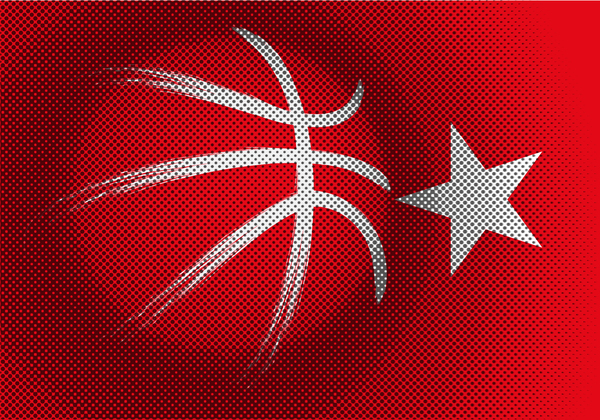 Red turkish basketball background vector 04