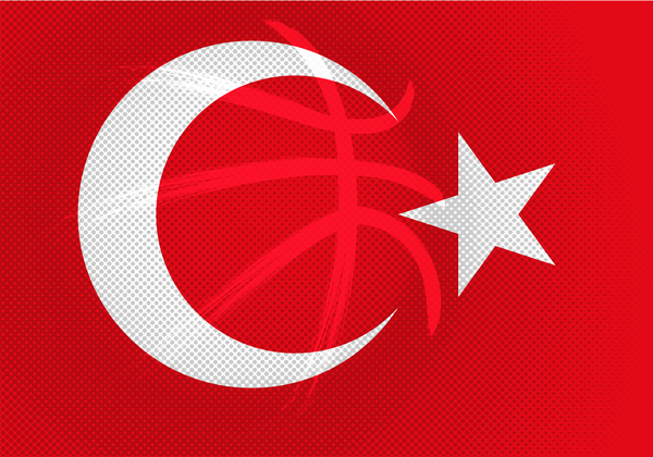 Red turkish basketball background vector 05