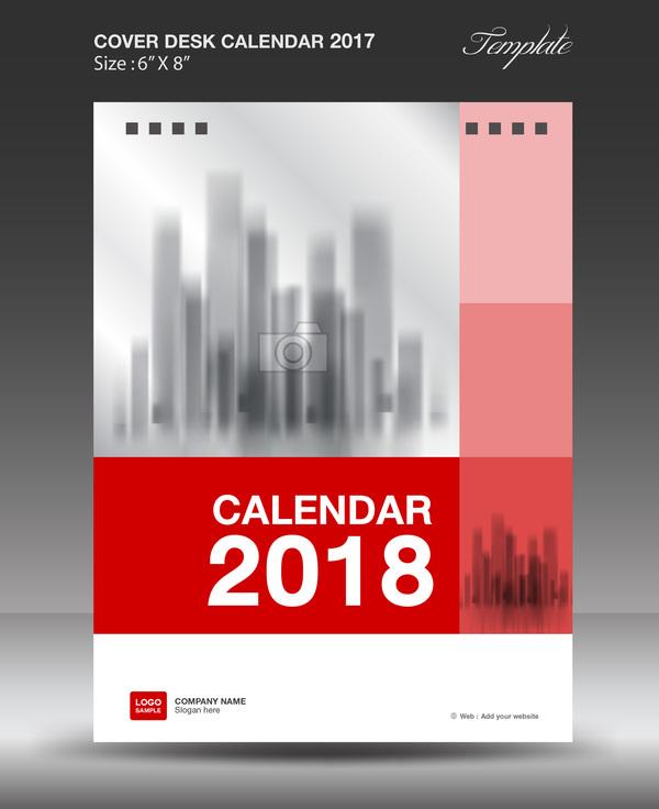 Red vertical desk calendar 2018 cover template vector