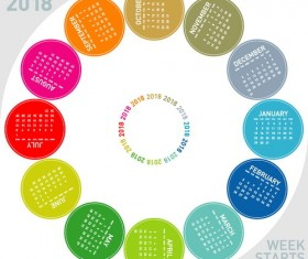 Round colored 2018 calendar vector