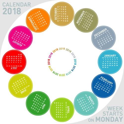 Round colored 2018 calendar vector