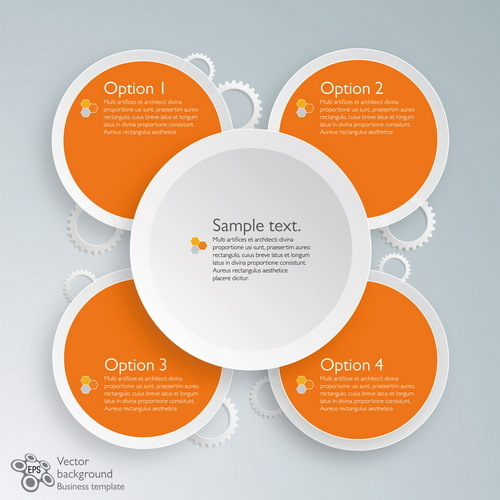 Round with gear infographic template vector 02