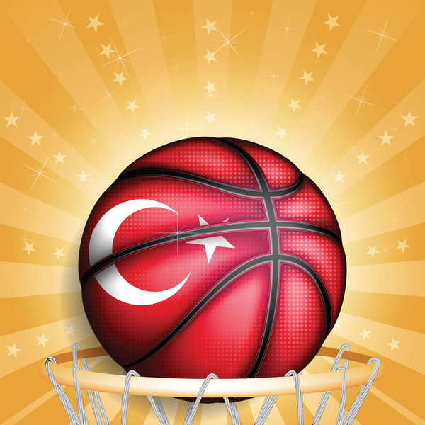 Rurkish basketball golden background vector