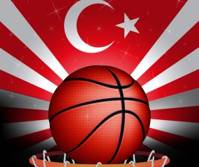 Rurkish flag with basketball background vector 01
