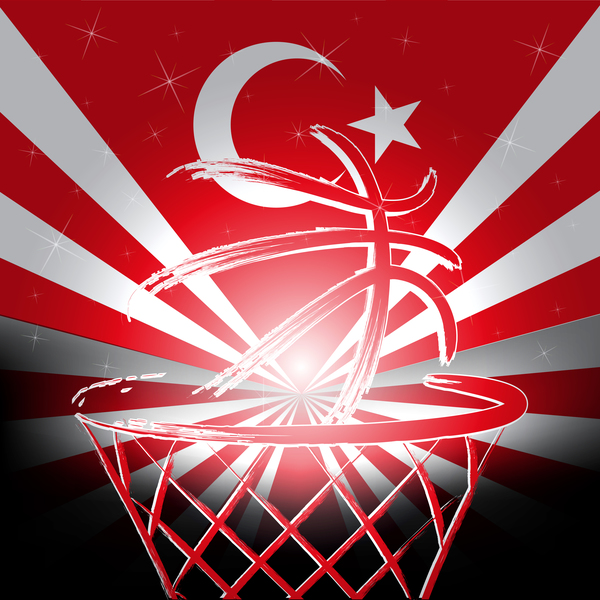 Rurkish flag with basketball background vector 02