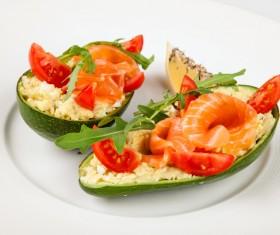 Salmon fillet with papaya Stock Photo 01