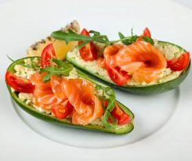 Salmon fillet with papaya Stock Photo 02