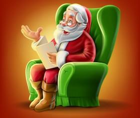Santa Claus and green sofas vector