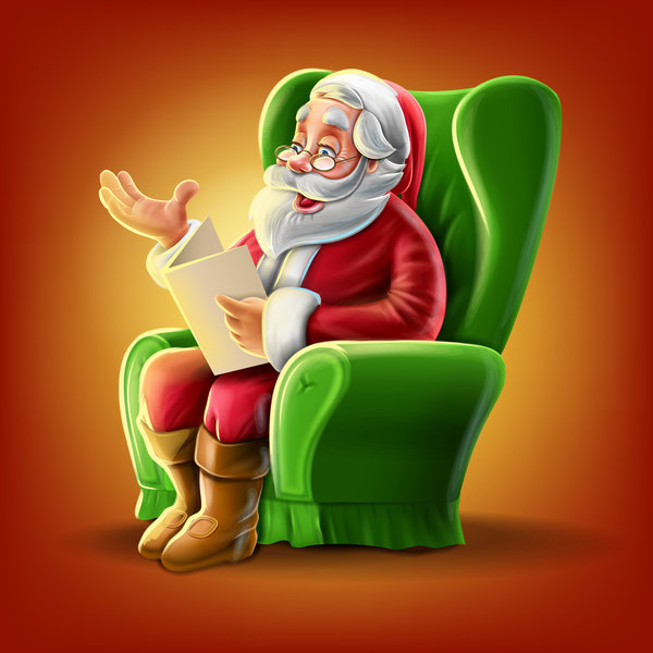 Santa Claus and green sofas vector