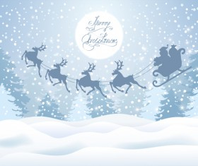 Santa Claus and reindeer with christmas background vector