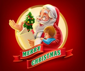 Santa with christmas labels and red backgorund vector 02