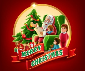 Santa with christmas labels and red backgorund vector 03