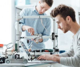 Science and Technology Experiment of College Students Stock Photo