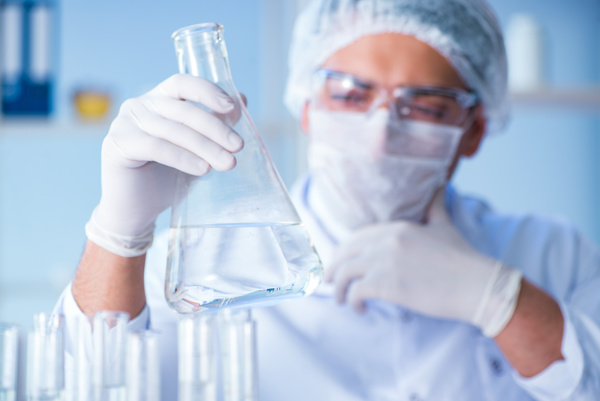 Scientists in the laboratory to observe water changes Stock Photo 01