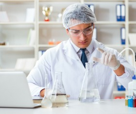 Scientists in the laboratory to observe water changes Stock Photo 02